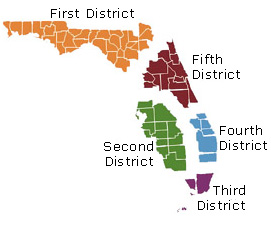 Florida District Court Map District Courts of Appeal   Florida Courts
