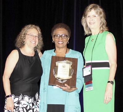 """Justice Peggy A. Quince (center) was honored with the Florida Dispute Resolution Center's 2017 Sharon Press Excellence in Alternative Dispute Resolution Award, presented annually to a person for """"visionary leadership, professional integrity, and unwavering devotion to the field of alternative dispute resolution."""" Here, Justice Quince is flanked by Ms Susan Marvin, chief of the Dispute Resolution Center (on right), and Ms Sharon Press, the center's former chief and currently the director of the Dispute Resolution Institute at Hamline University."""