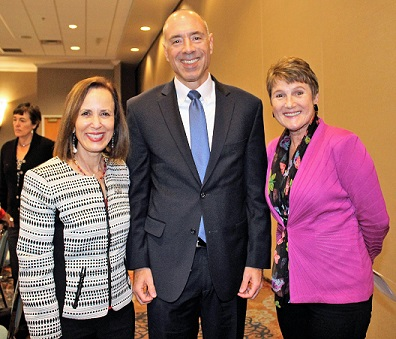 At a recent meeting of the Steering Committee on Families and Children in the Court, the committee chair, Judge Christine Greider, Collier County (on right), smiles for a photo with Justice Barbara Pariente and Justice Alan Lawson.