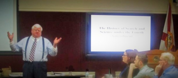 Justice R. Fred Lewis talks about the History of Search and Seizure under the Fourth Amendment with Justice Teaching Institute Fellows.